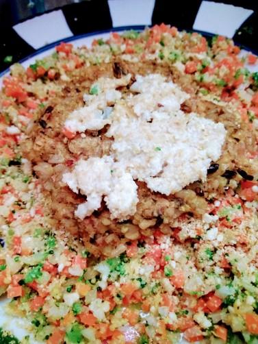 veggie meal pea burger riced veggies