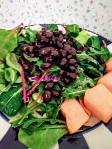 Busy day? Black beans on greens with melon