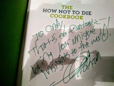 Dr. Greger's inscription after hearing of my success treating lipedema, Dercum's disease using his suggestions for. Plant-based diet.