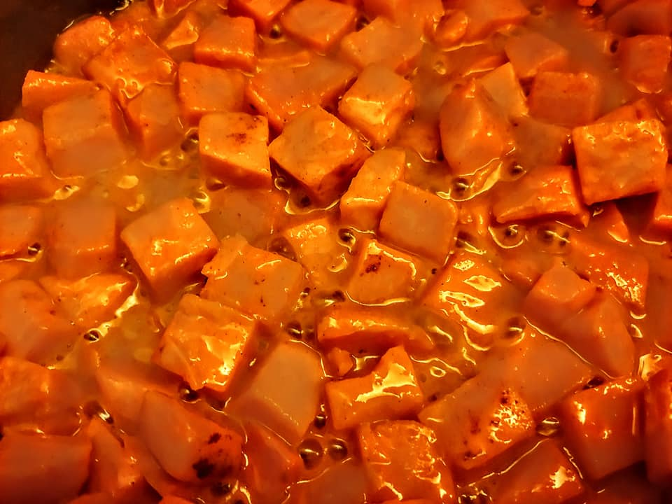 Sweet Potato cubed first step